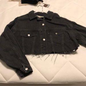 Topshop cropped black jean jacket